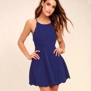 Lulus Play on Curves Blue Backless Dress 142